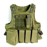 Outdoorguru Tactical Vest Military Army USMC Airsoft Combat Assault Molle Vest Army Green