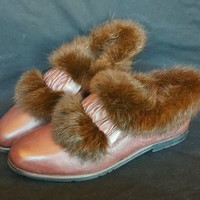 Fashion Leather and Real Fur Womens Shoe Size 6 US 36 EUR Oxford Slip On Brown