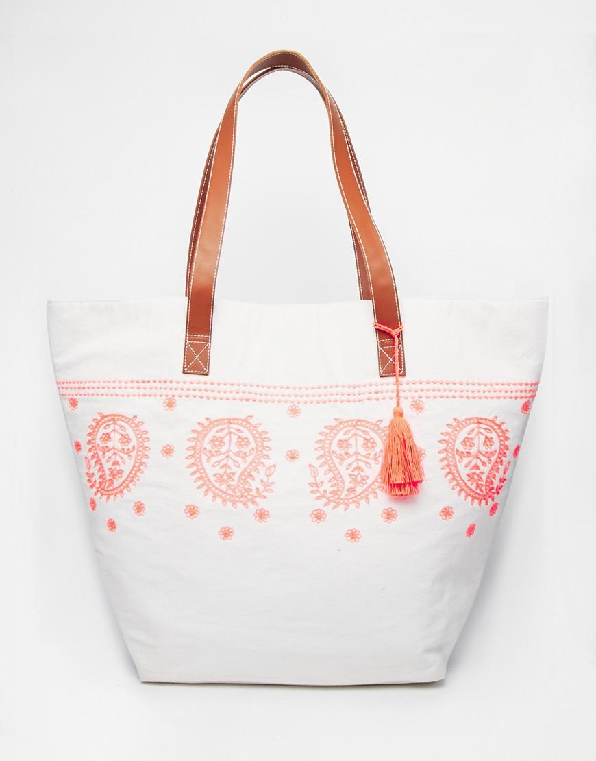 Orelia embroidered beach bag from asos
