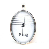 Music Note Pendant with Sing from Vintage by CarpeDiemHandmade