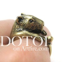 Dotoly   3D Capybara Wombat Gerbil Hamster Animal Ring in Bronze - Sizes 5 to 9   Online Store Powered by Storenvy