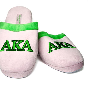 Alpha Kappa Alpha Embroidered Slippers