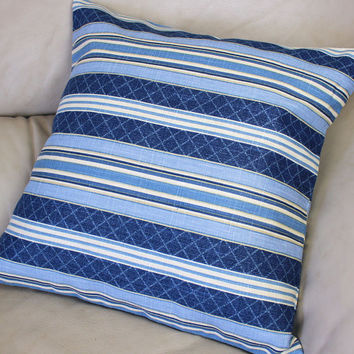 "Waverly Etienne Striped Decorator Throw Pillow Cotton Fabric - 16""  or 18"" or 20"" Covers, Denim Blue, Light Blue and Ivory"