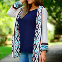 Love You Now Cardigan, Ivory/Brown