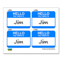Jim Hello My Name Is - Sheet of 4 Stickers