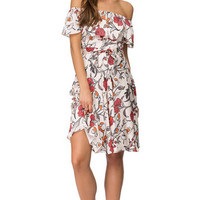 Off Shoulder Floral Print Mid  Dress  11532