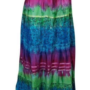 Mogul Interior Womans Medieval Skirt Colorful Tie Dye Print A-Line Flare Long Maxi Skirts