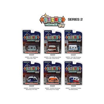 Hitched Homes Series 2, 6pc Trailer Set Diecast Models 1:64 by Greenlight