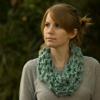 Mint Cowl, Spring Knit Statement Necklace, Sea Green Cowl