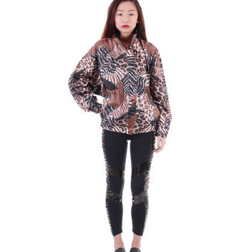 Satin Animal Print Windbreaker Jacket 80s 90s Slouchy Batwing Hip Hop Swag Hipster Vintage Clothing Unisex Small Large
