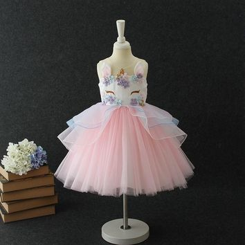 Fancy Unicorn Party Vestido Baby Girl Tutu Dresses Summer 2018 Kids Clothes for Girls Embroidery Flower Girl Birthday Costume 8T