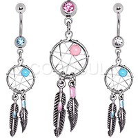 316L Surgical Steel Dream Catcher Belly Button Navel Ring - Style 4