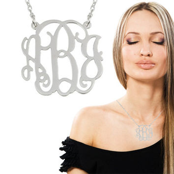 Sterling Silver Monogram Necklace - 1 1/4 Inch Sterling Silver 925 - Customized Pendant