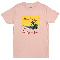 Get Out of Town Pkt Tee with front print by Altru Apparel