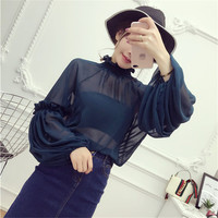 New Female Korea Style Fashion Chiffon Blouses With Wrapped Chest Sexy Shirt woman Blouse Lantern Sleeve Tops 72475 GS