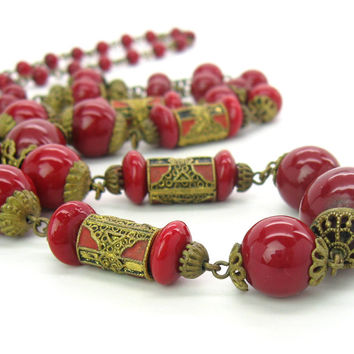 Art Deco Czech Necklace. Neiger Long Enamel & Red Glass Beads, Antique Gold Gilt Filigree. Vintage 1920s Edwardian Jewelry.