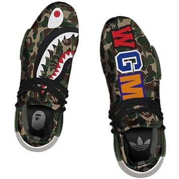 ADIDAS Bape Shark Camouflage Trending Fashion Camouflage Casual Sports Shoes