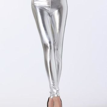 High Waist Liquid Silver Leggings