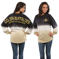 Women's Black Colorado Buffaloes Ombre Long Sleeve Dip-Dyed Spirit Jersey