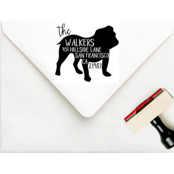 Custom Address Stamp | BullDog Address Stamp | Family Pet Stamp | Dog Rubber Stamp Bulldog | Mens Dog Lover Personalized Gift | Any Breed