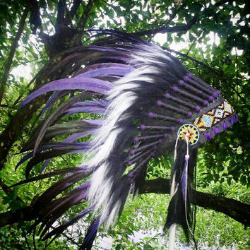 Black purple Native American Headdress, Indian Headdress, Warbonnet, EdC, Rave, Feather Headdress, Powwow, Tee pee party, Tomorrowland