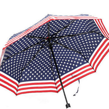 America Flag Telescopic Umbrella Compact Auto Folding Umbrella