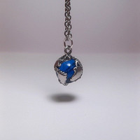 Blue Earth Globe Necklace - Optional Chain Length