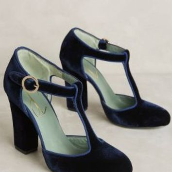 Paola d'Arcano Velvet T-Strap Heels in Blue Size: