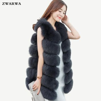 2017 New publication Hot Sale fake fox fur vest women winter Long coat stitching faux Rabbit fur sleeveless waistcoat outerwear