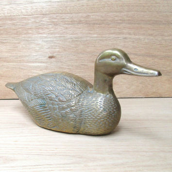 Huge Brass Duck 6 lbs!  Vintage Large Brass Mallard w/ Great Detail, Big Brass Duck, Brass Patio Decor, Garden Decor, Unique Gift for Hunter
