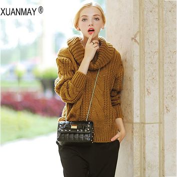 Women's Autumn and winter High collar Sweater coarse lines female 2017 new Loose big yards thick Sweater coat female