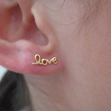 Small Gold Love Stud Earrings Minimalist Post Sterling Silver Tiny