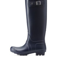 Navy Bamboo Matte Rubber Rain Boots by Bamboo at Charlotte Russe
