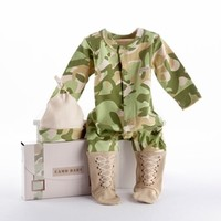 "Baby Camo Two-Piece Layette Set in ""Backpack"" Gift Box-Unique Baby Gifts
