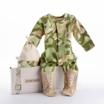 """Baby Camo Two-Piece Layette Set in """"Backpack"""" Gift Box-Unique Baby Gifts LollipopMoon.com only $38.95 - <b>Newborn Baby Clothes<b>"""