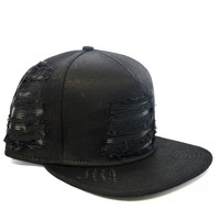 Civil  - Black Denim Leather Biker Strapback - Black