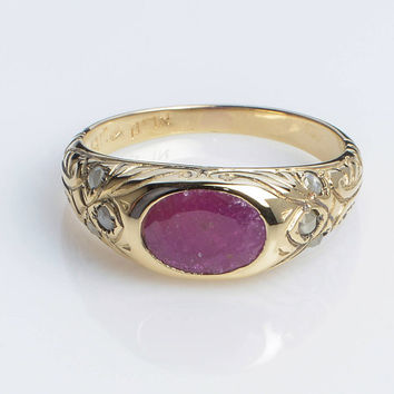 Rose Gold Ring with a Central Ruby in 14K Yellow Gold // Vintage inspired HandMade Kisufim Jewelry signed by Ari Kasten