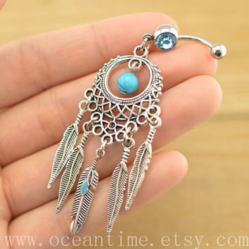 belly ring,Dream catcher belly button jewelry,dream catcher belly button rings,gypsy belly ring,turquoise bead bellyring,friendship BFF gift