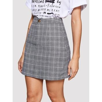 Button A Line Tartan Skirt