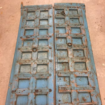 18C Antique Jaypur BLUE INDIA Door Panels Teak Wood Iron Nails Distressed Rustic Doors