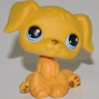 Retriever #21 (Yellow, Brown nose) - Littlest Pet Shop (Retired) Collector Toy - LPS Collectible Replacement Single Figure - Loose (OOP Out of Package & Print)
