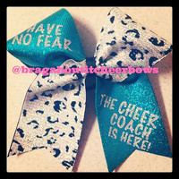 coach teal and cheetah print  cheer bow.