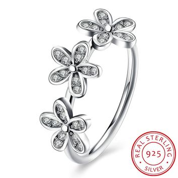 925 Sterling Silver Ring Three five leaf clover diamond ring female