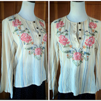 Vintage 70s Blouse Embroidered Hippie Top Gauze Flare Sleeves Linen Stripes Boho Shirt M 36B