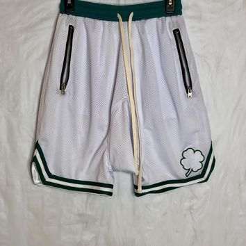 White/Green Fear of God Inspired Basketball shorts