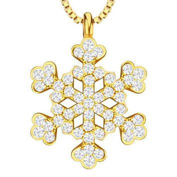 DCCKHY9 Fashion Accessories Cubic Zirconia Princess Flower Necklace & Pendants 18K Gold/Platinum Plated For Women Gift  P30158