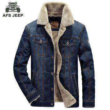 Winter Mens Fashion AFS JEP Men Denim Jacket Eur Style Casual Fur Thick Jeans Blazer