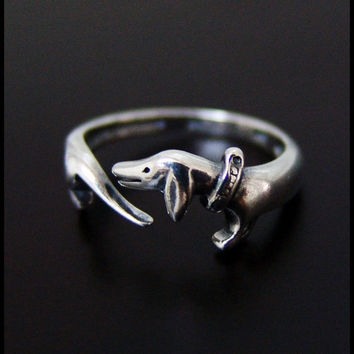 Dachshund Ring High Quality by SilverJewelryShop on Etsy