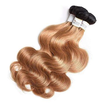 ombre 1b/27 Brazilian body wave hair bundles double weft hair extensions