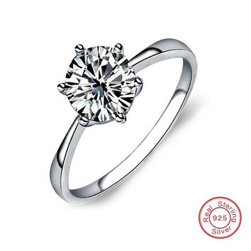 Sent Certificate of Silver! Personalized Engrave 100% Pure 925 Sterling Silver Ring Single CZ Stone Engagement Rings for Women